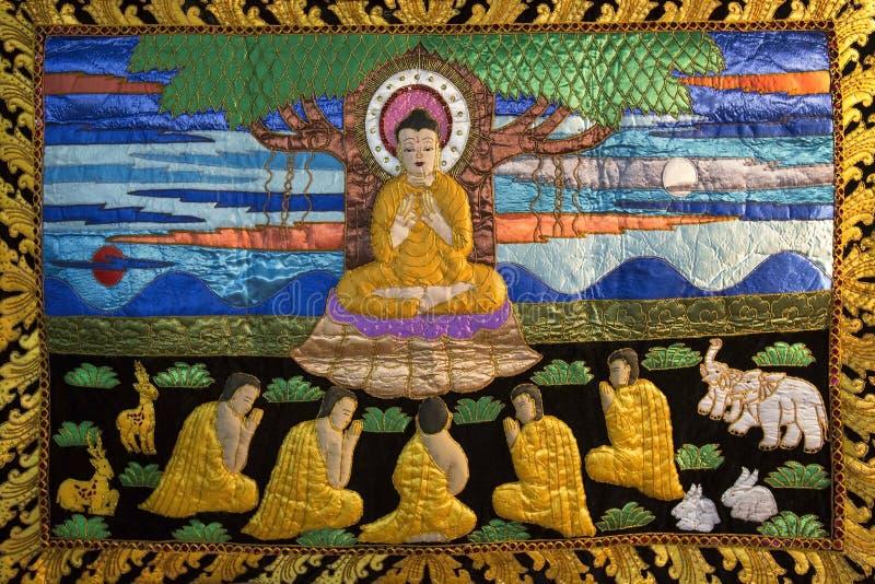 Buddhist Thangka - Chiang Mai - Thailand stock photo