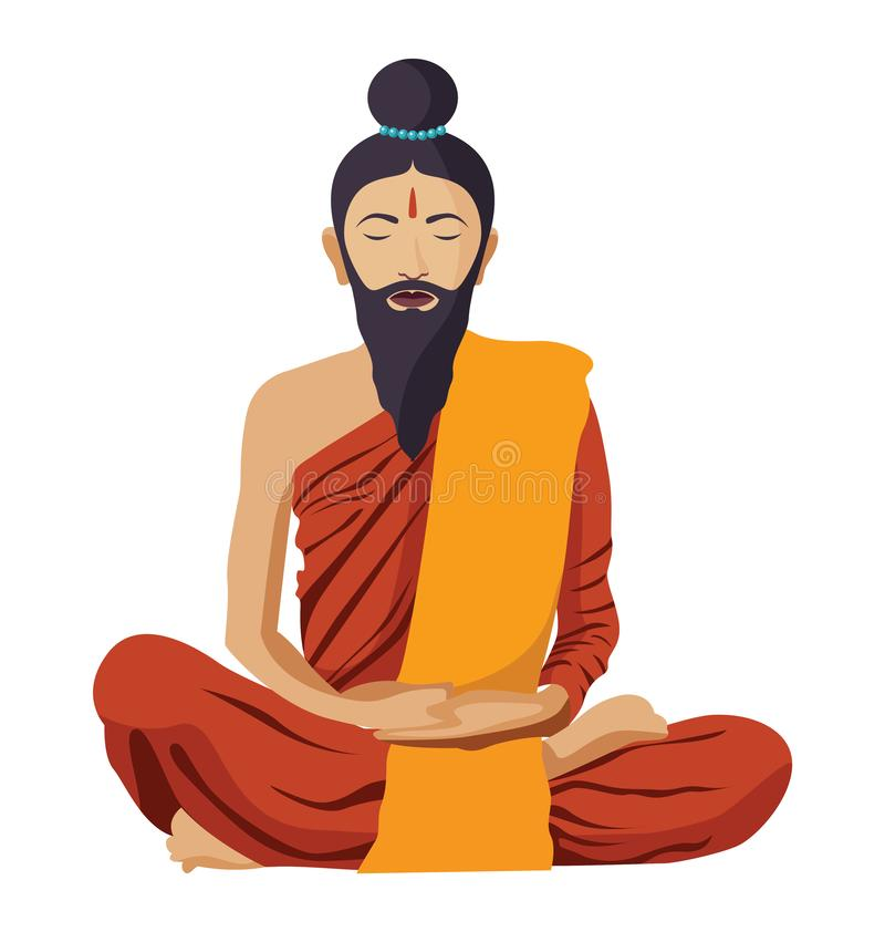 Buddhist tibetan monk meditation with beard isolated. Spiritual vector illustration