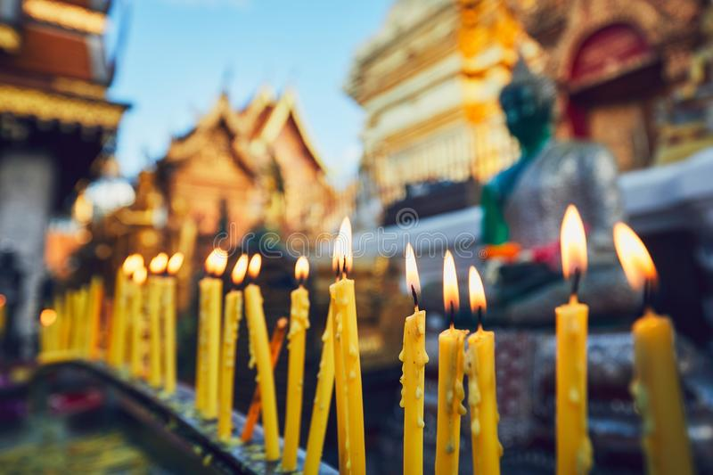 Buddhist temple at the sunset. Buddhist Wat Phra That Doi Suthep Temple at the sunset. Tourists favorite landmark in Chiang Mai, Thailand royalty free stock photos