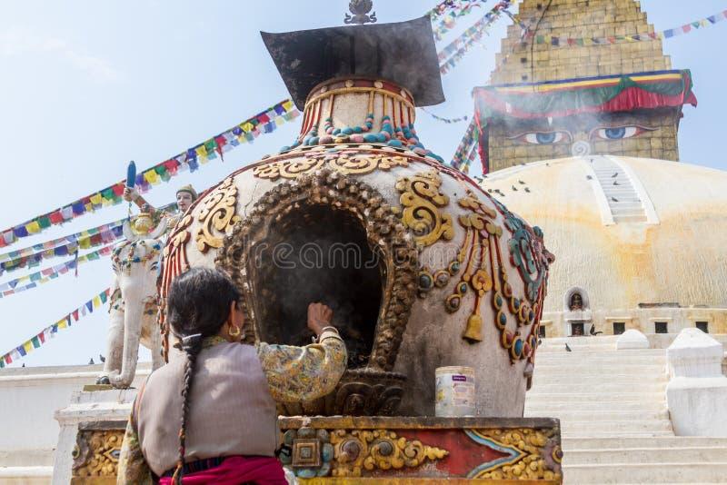 Buddhist Worship at Boudanath royalty free stock photography