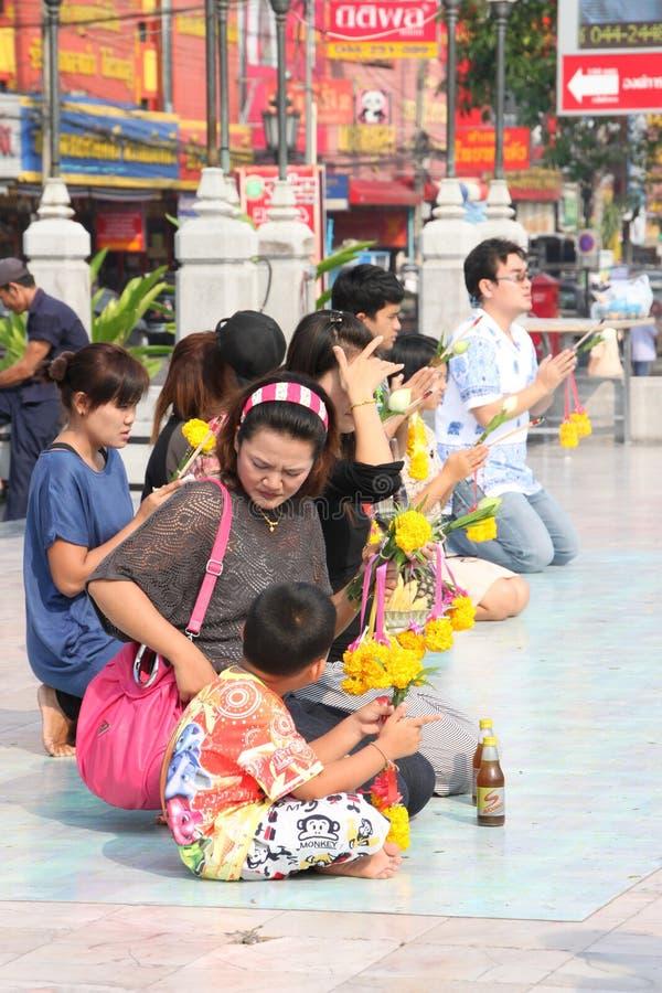 Buddhist Worshiping And Making Religious Merit Editorial Image