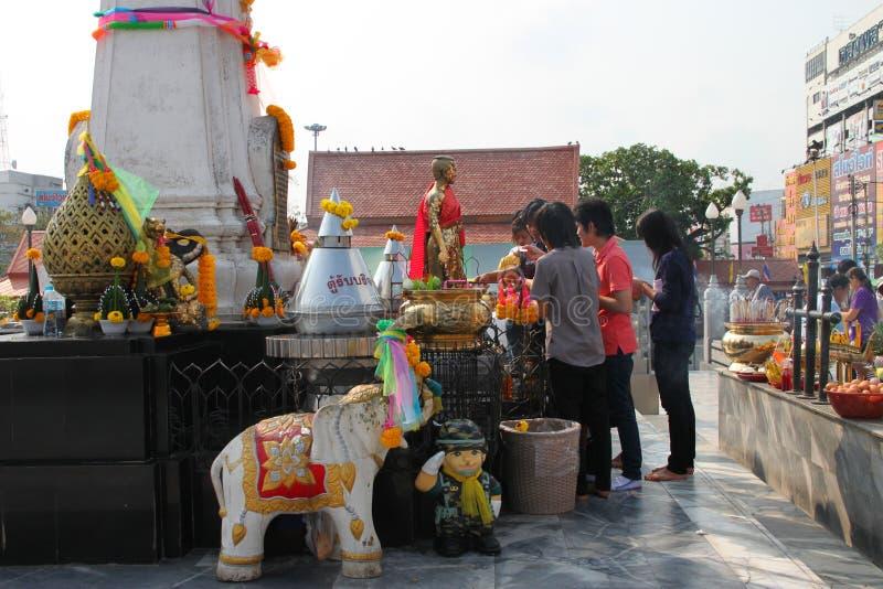 Buddhist worshiping and making religious merit