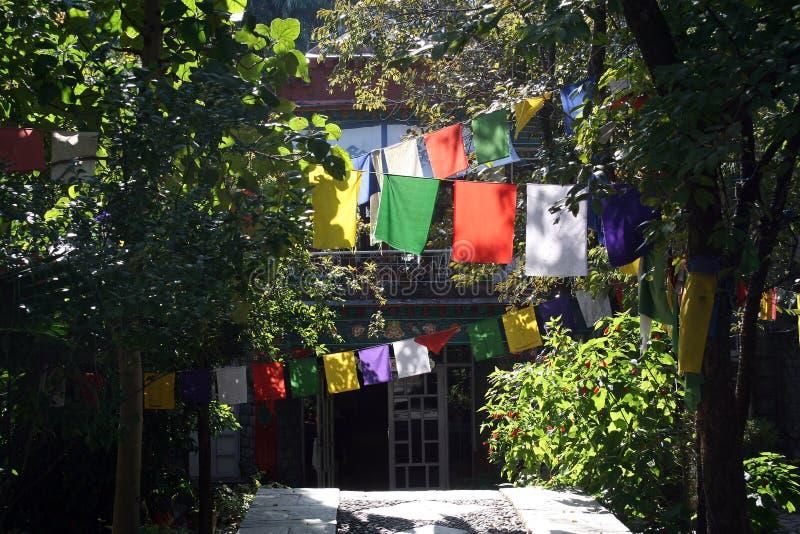 buddhist zaznacza monastary modlitewnego tibetan zdjęcie stock