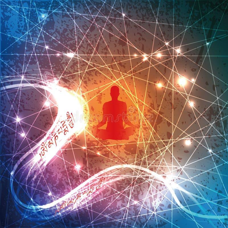 Buddhistische Beschwörungsformel und contemplator lizenzfreie abbildung