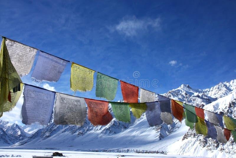 Buddhistische Markierungsfahnen im Winterhimalaja lizenzfreie stockbilder