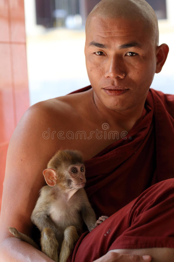 Buddhistischer Mönch mit Affen lizenzfreie stockbilder