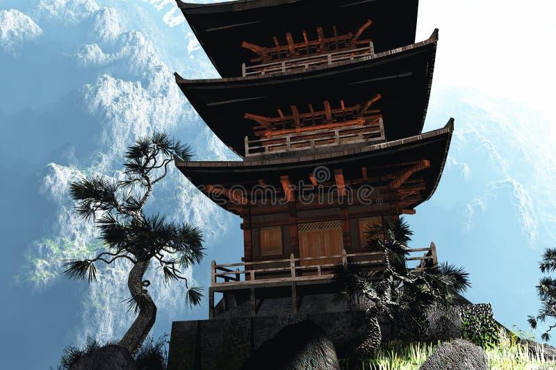 Buddhistischer Tempel in den Bergen lizenzfreie abbildung