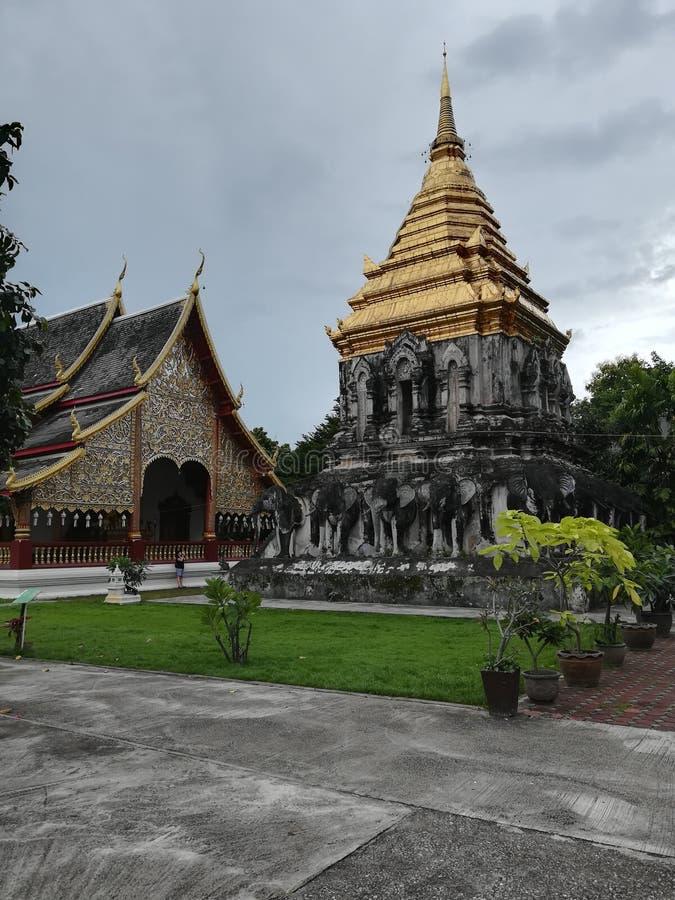 Buddhistischer Tempel in Thailand, goldenes piramid stockbild