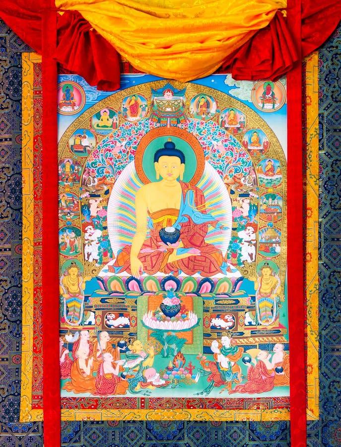 Buddhistisches thangka, tibetanische buddhistische Malerei auf Baumwolle oder Seide a stockbilder