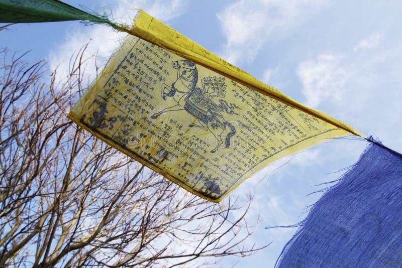 Buddhistisches tibetanisches Gebet kennzeichnet das Wellenartig bewegen in den Wind gegen blauen Himmel stockbilder