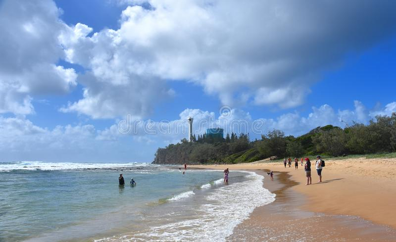 People relaxing on Buddina Beach. Buddina, Australia - Apr 21, 2019. People relaxing on Buddina Beach along Pacific Boulevard Sunshine Coast, Queensland royalty free stock photo