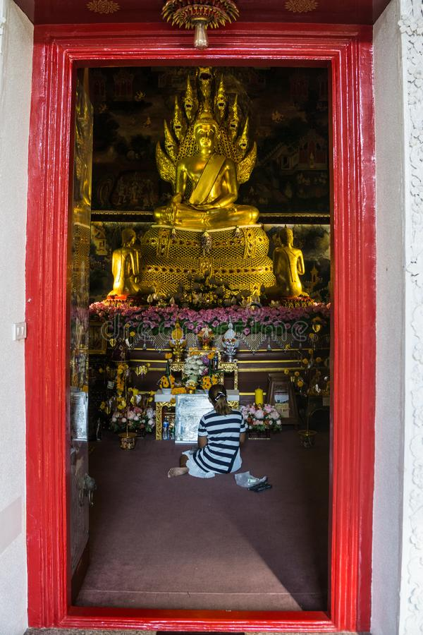 Buddish pray in Sanctuary Temple in Thailand stock images