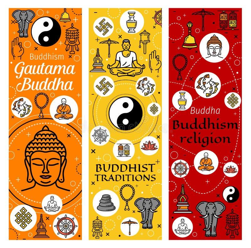 Buddism, medling och buddistiska traditioner stock illustrationer