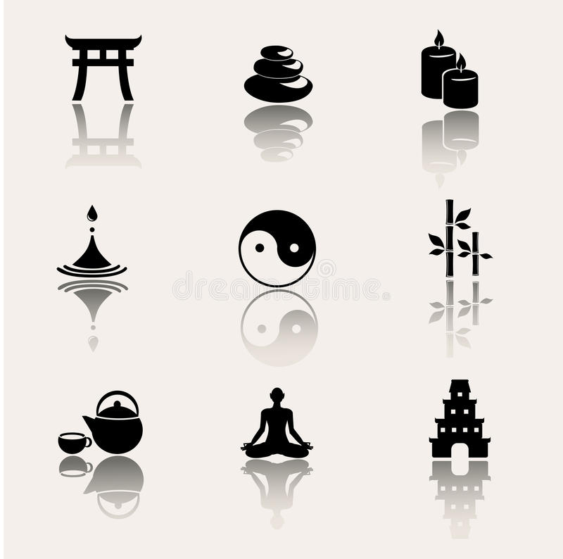 Buddism zensymboler på vit bakgrund royaltyfri illustrationer
