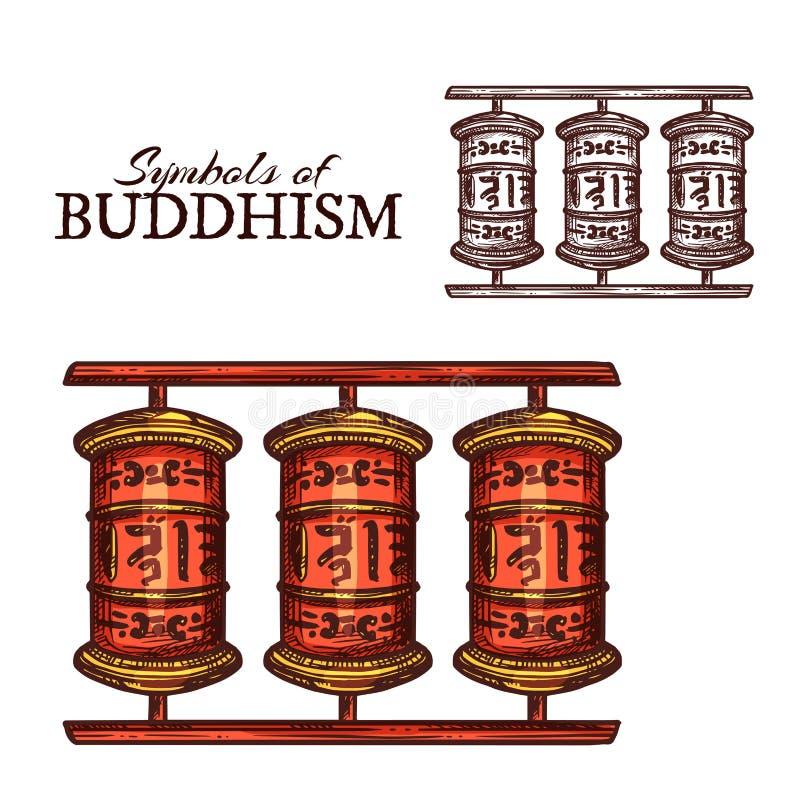 Buddismreligionsymbol av det buddistiska bönhjulet royaltyfri illustrationer