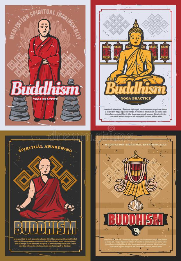 Buddismreligionsymboler och buddistiska munkar stock illustrationer