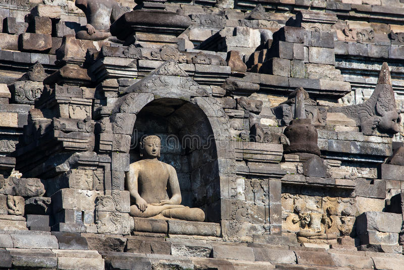 Buddist寺庙婆罗浮屠复合体在Yogjakarta, Java 免版税库存照片