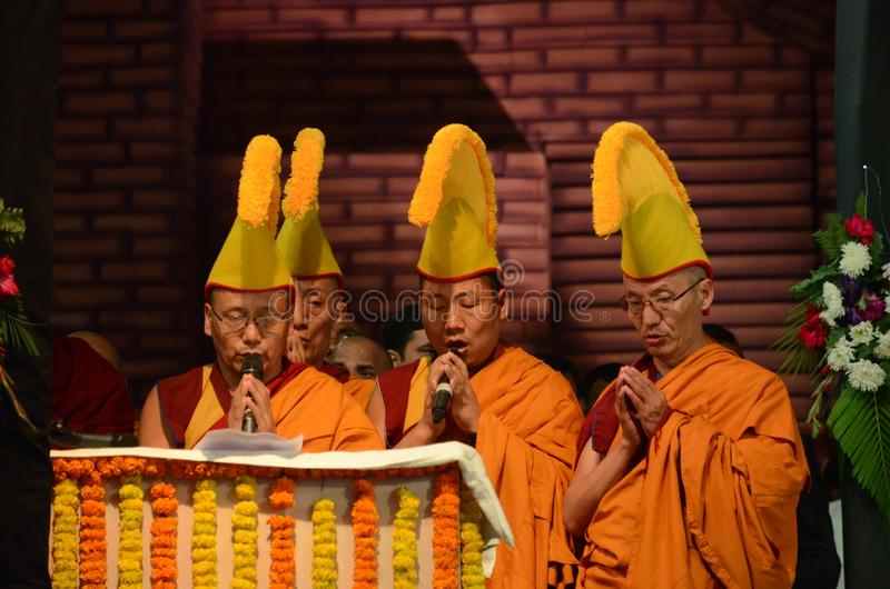 Buddist i Bodhgaya, bihar, Indien royaltyfria bilder