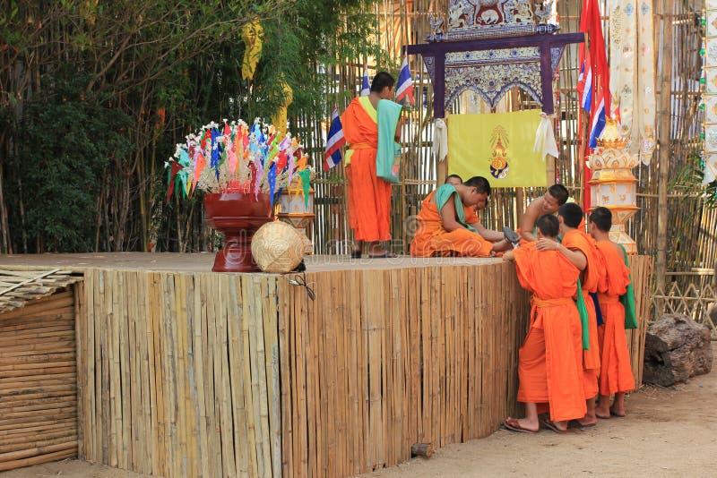 Buddist monks at Wat Phan Tao temple, Chiang Mai, Thailand royalty free stock photos