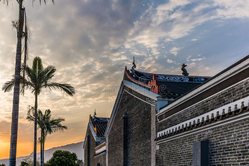 Buddist temple in the Hong Kong New Territories. Near the walled village of Kat Hing Wai -1 royalty free stock image