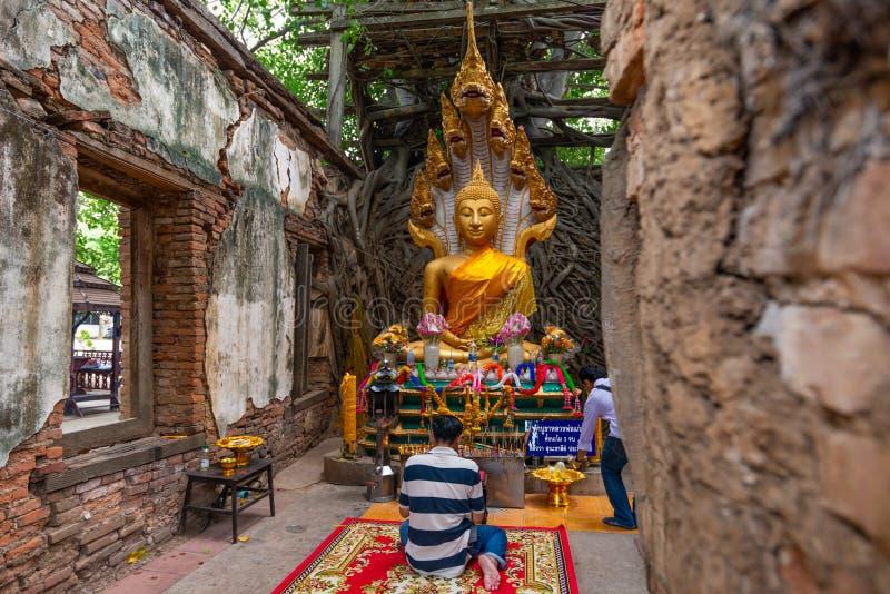 Buddisten ber respekt till Lord Buddha skulptur i Thailand royaltyfri bild