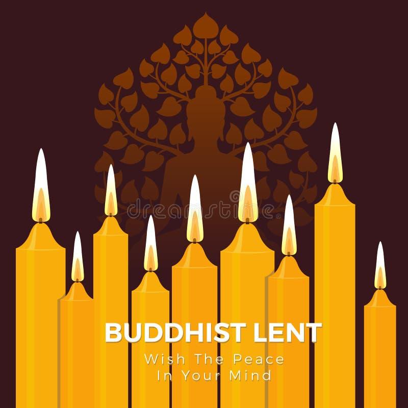 Buddisten lånade dag med freden i din meningstext på gul bakgrund för stearinljusljus- och Buddhateckenvektor royaltyfri illustrationer