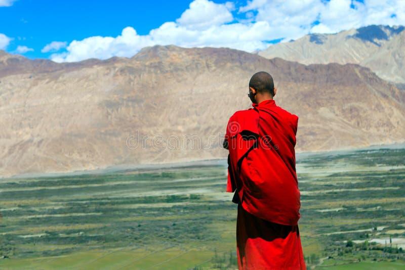 Buddistisk munk i Himalayas royaltyfri bild