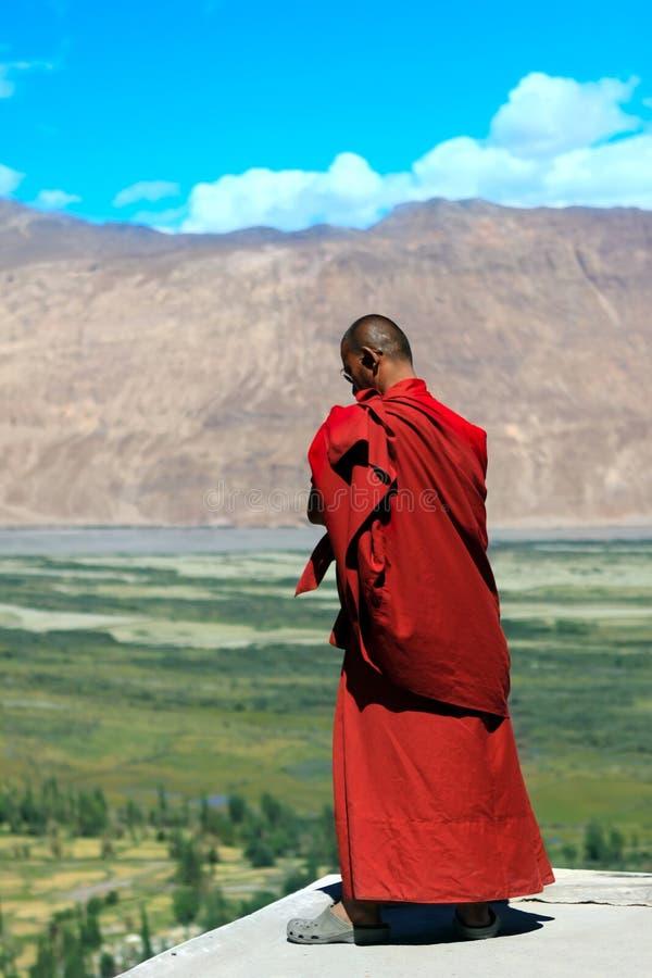 Buddistisk munk mot berg i himalayasna royaltyfri bild