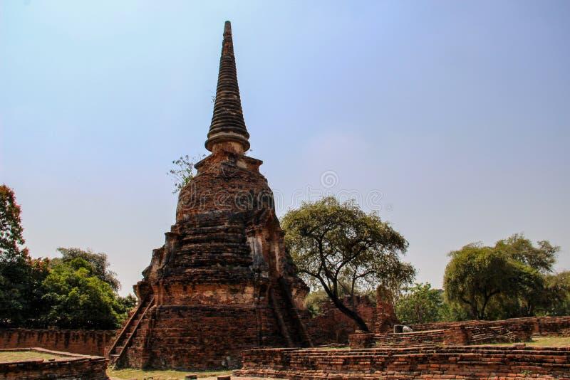 Buddistisk tempel med forntida stupa i Ayutthaya, Bangkok, Thailand fotografering för bildbyråer