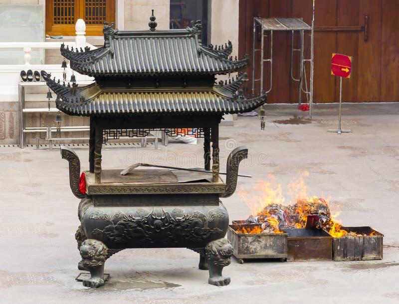 Buddistisk tempel sakrala Ash Urn fotografering för bildbyråer