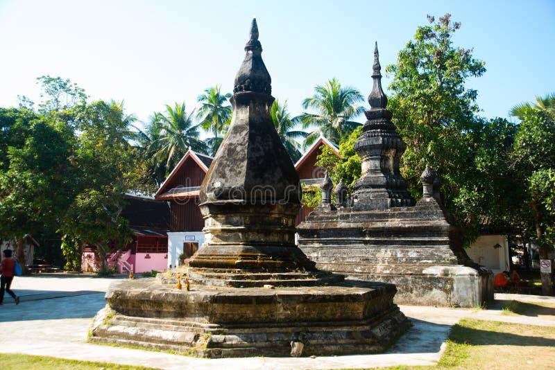 Buddistisk tempel, stupa Luang Prabang laos arkivbild