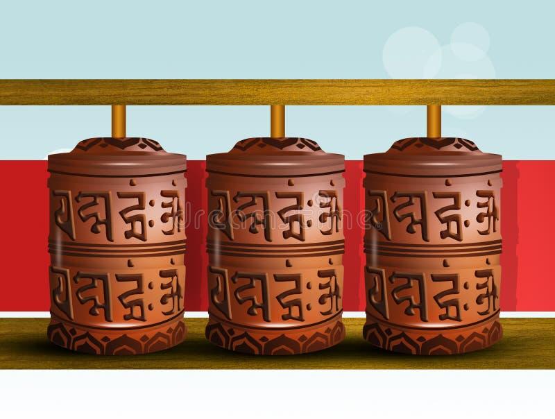buddistiska bönhjul stock illustrationer
