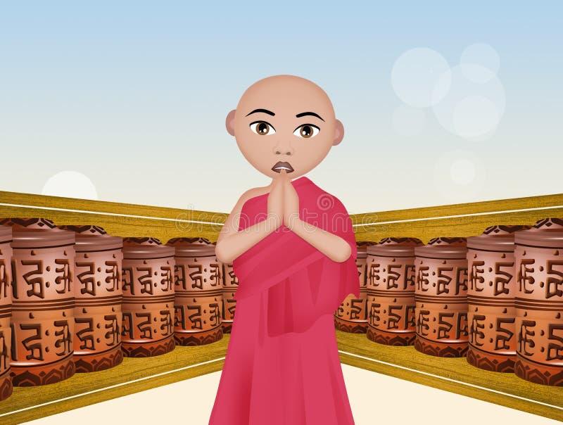 buddistiska bönhjul vektor illustrationer