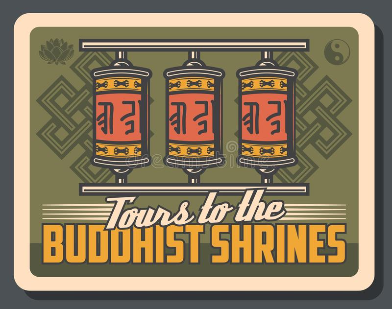 Buddistiska bönhjul, buddismlotusblomma, yin yang vektor illustrationer
