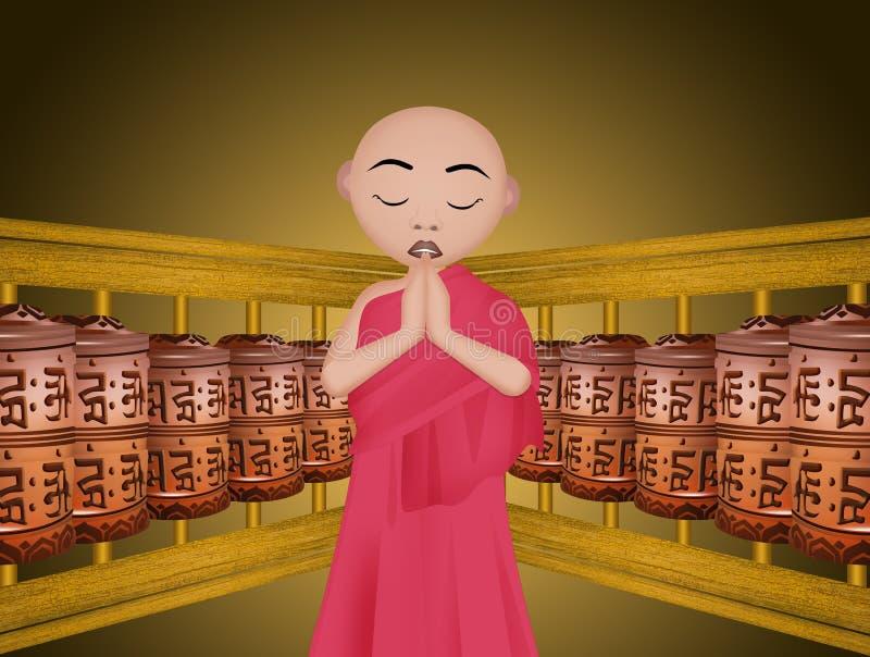 buddistiska bönhjul royaltyfri illustrationer