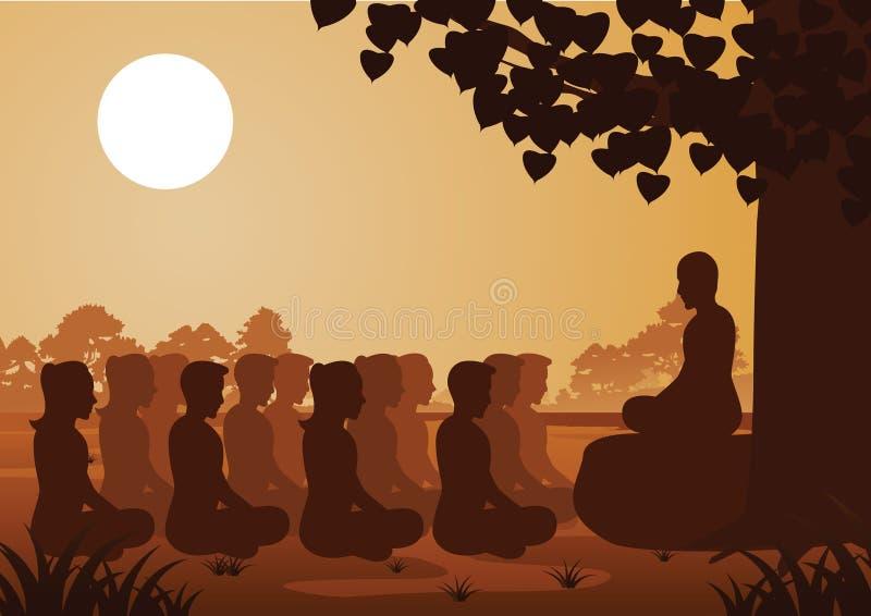 Buddistiska kvinnor och män betalar drevmeditation med munken för att komma till fred, och ut ur lida under trädet stock illustrationer