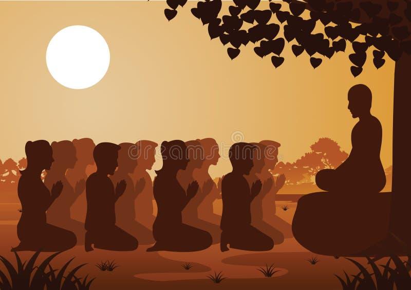 Buddistiska kvinnor och män betalar respekt till munken politely med tro och tror royaltyfri illustrationer