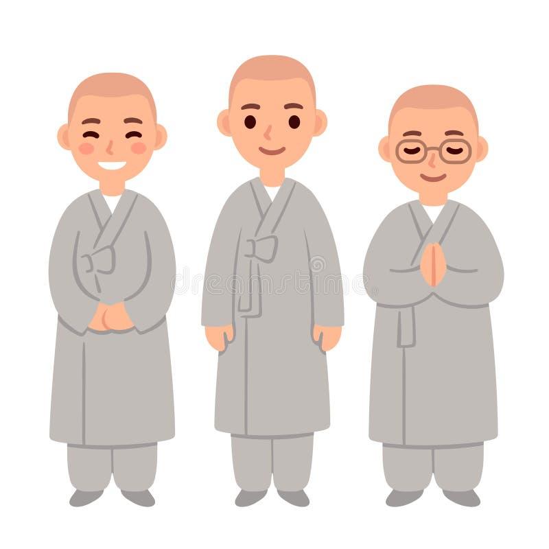 Buddistiska munkar för gullig tecknad film stock illustrationer