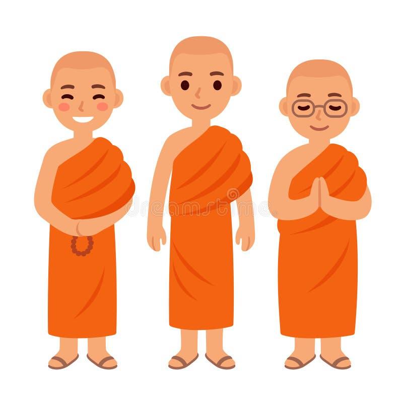 Buddistiska munkar för gullig tecknad film vektor illustrationer