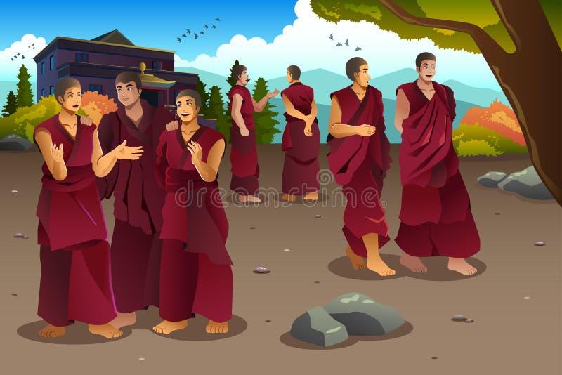 Buddistiska munkar i Tibet tempel stock illustrationer