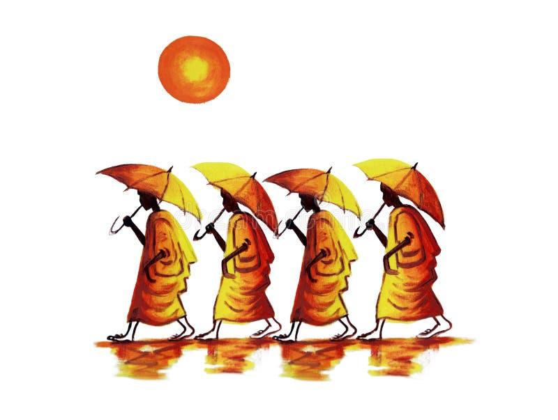 Buddistiska munkar med paraplyer stock illustrationer