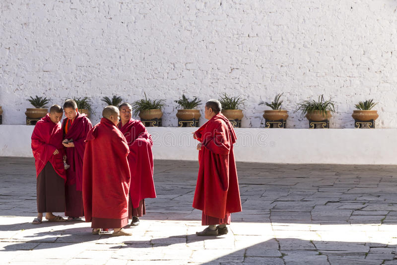 Buddistiska munkar med smartphonen royaltyfri bild