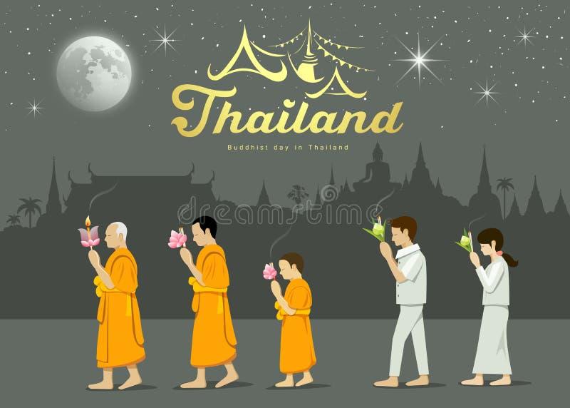 Buddistiska munkar och folkdyrkare på den viktiga buddisten Thailand royaltyfri illustrationer