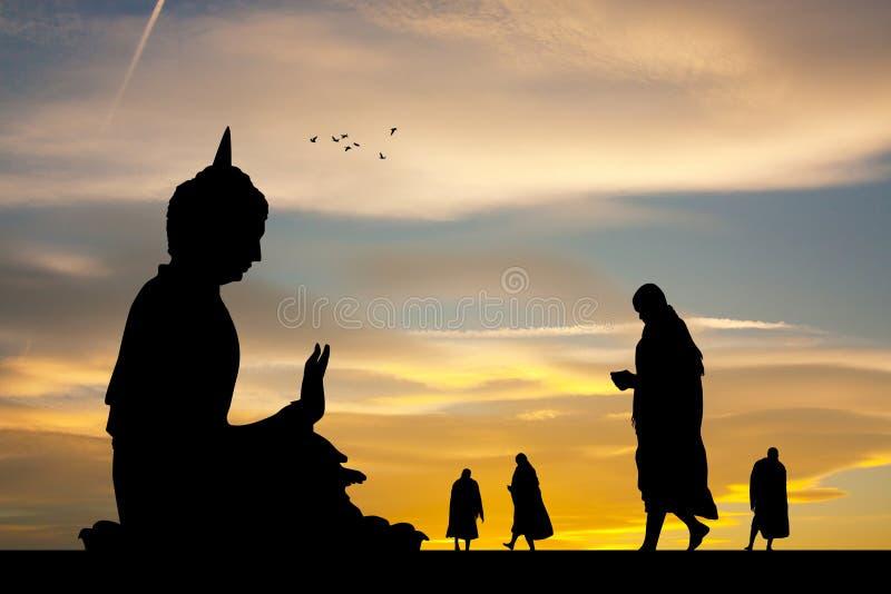 Buddistiska munkar på templet på solnedgången stock illustrationer