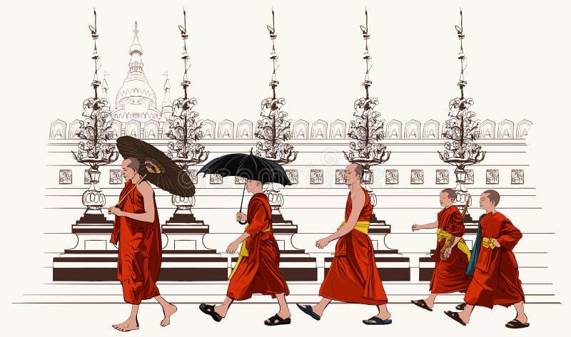 Buddistiska munkar som går i en tempel stock illustrationer