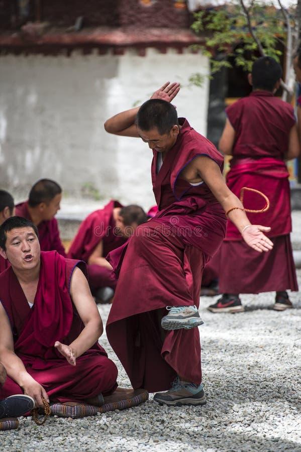 Buddistiska munkars applåderar den debattera Œa för ¼ för övningsï munken, drastiskt debattera, Tibet royaltyfria foton