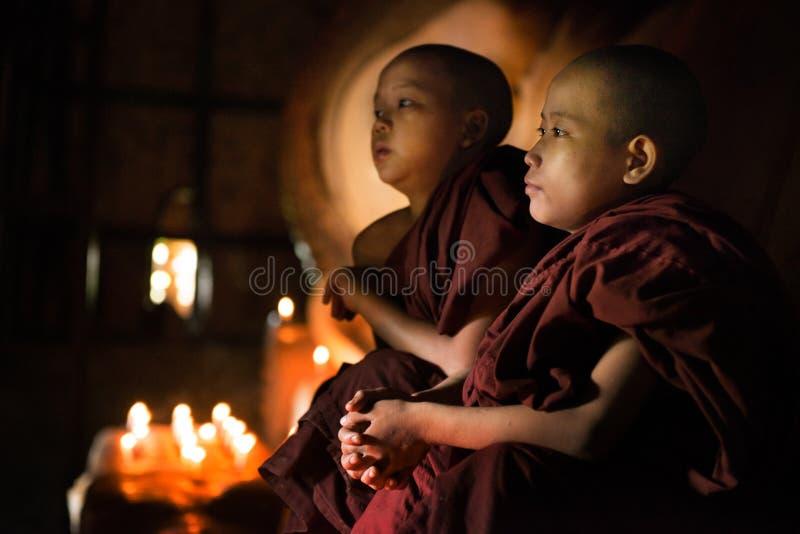 Buddistiska noviser som ber den inre templet royaltyfri bild