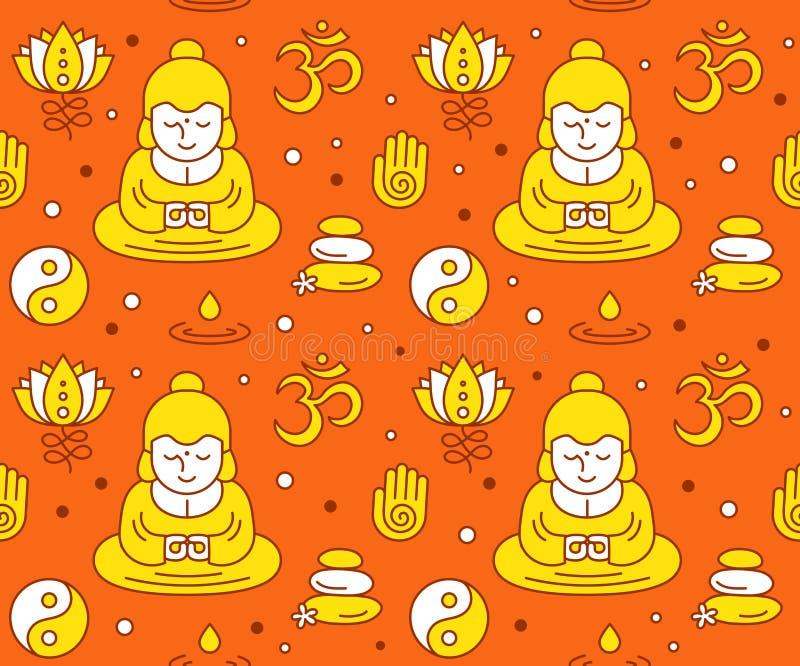 Buddistiska religiösa sakrala symboler vektor illustrationer