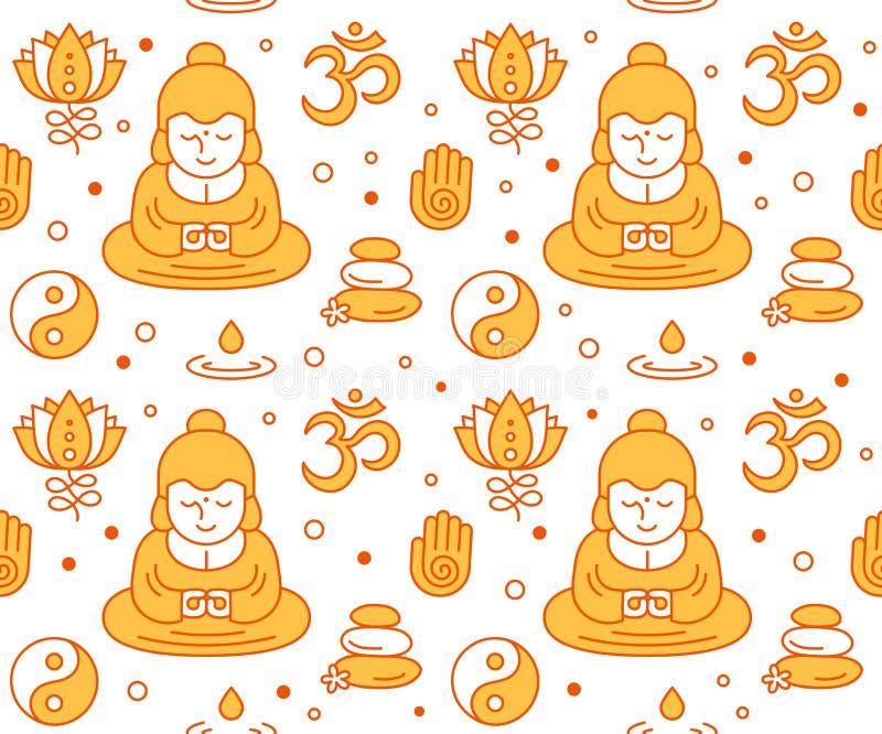 Buddistiska religiösa sakrala symbolseamles royaltyfri illustrationer