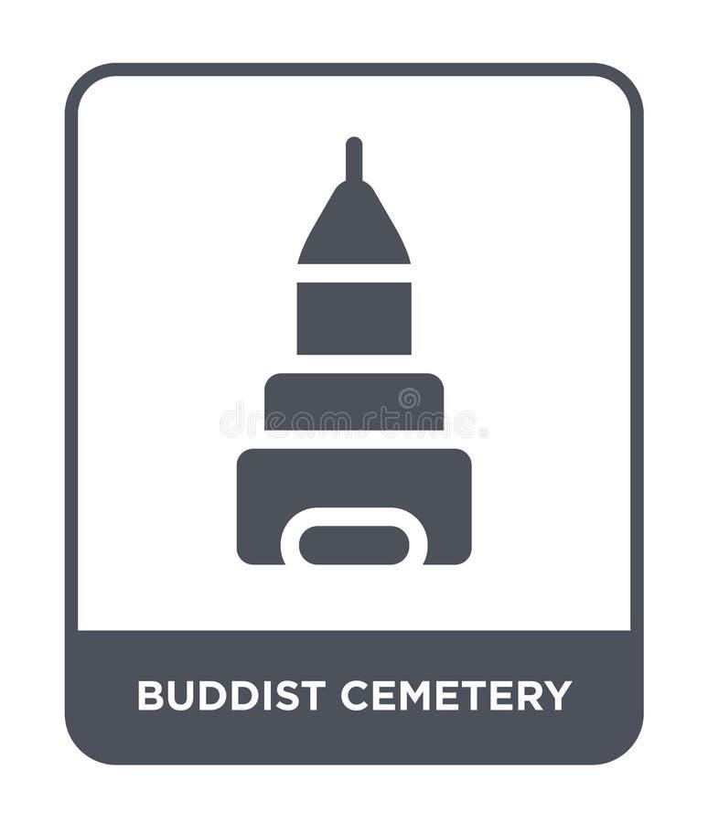 buddistkyrkogårdsymbol i moderiktig designstil buddistkyrkogårdsymbol som isoleras på vit bakgrund symbol för buddistkyrkogårdvek stock illustrationer